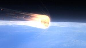 Počítačově generovaná vizualizace Orionu obaleného horkým plasmatem při průchodu atmosférou