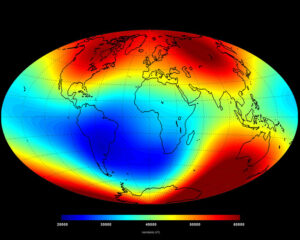 Zemské magnetické pole v červnu 2014 - červená místa znázorňují silné magnetické pole, modrá místa značí místa se slabším polem.
