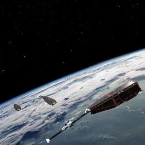 Vizualizace družic Swarm na oběžné dráze