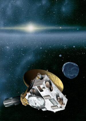 Sonda New Horizons v představách umělce u ledového tělesa Kuiperova pásu. V reálu jsou KBO v prostoru pochopitelně rozptýleny mnohem méně hustě.