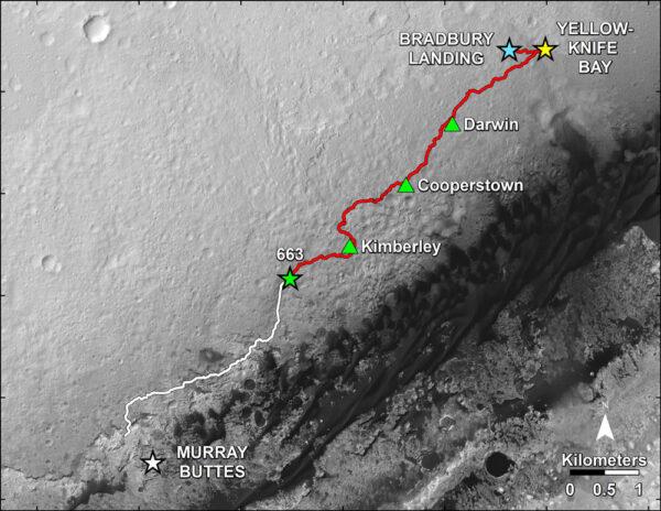 Mapa s vyznačenou trasou vozítka Curiosity - červeně již ujetá trasa, bíle plánovaná část.