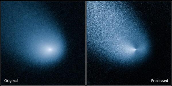 Snímek detektoru Wide Field Camera 3 Hubbleova teleskopu z 11. března letošního roku Image Credit: NASA, ESA, and J.-Y. Li (Planetary Science Institute)
