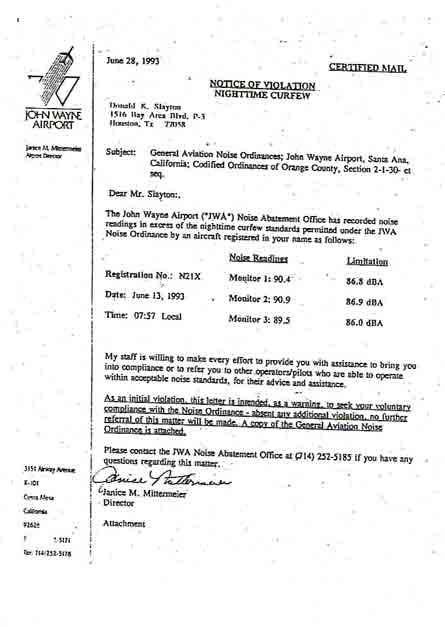 Dopis FAA s upozorněním na porušení zákazu létání na J. Wayne Airport