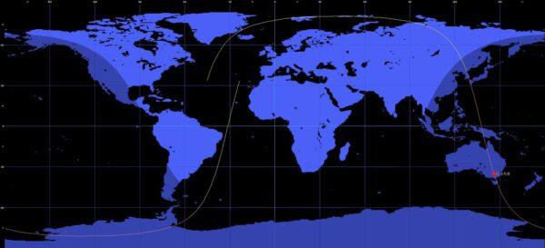 Trajektorie letu třetího stupně rakety Sojuz