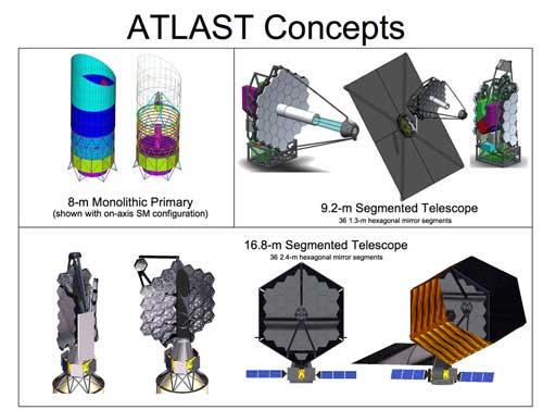 Technické schéma teleskopu ATLAST Kredit: http://www.stsci.edu/atlast