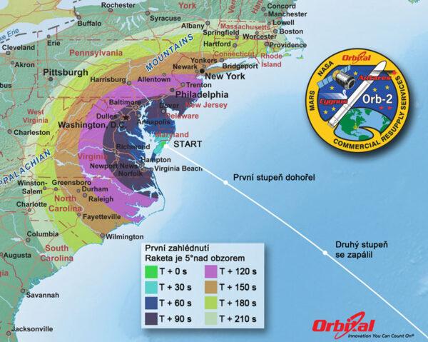 Mapa pozorovatelnosti startu rakety Antares
