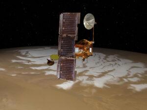 Sonda Mars Odyssey nad jižním pólem rudé planety v představách výtvarníka