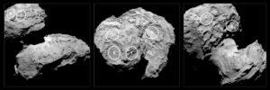 Pět míst pro přistání landeru Philae vyznačených na snímku OSIRIS NAC z 16.8. a vzdálenosti 100km Kredit: ESA/Rosetta/MPS for OSIRIS Team MPS/UPD/LAM/IAA/SSO/INTA/UPM/DASP/IDA