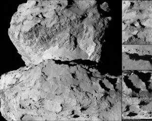 neuvěřitelně plastický a rozeklaný povrch komety 67P. Záběry pořídilo zařízení OSIRIS za použití kamerové vložky NAC (užší zorné pole) 7. srpna 2014. V té době se sonda nacházela 104 km od komety. V pravé části snímku je výběr některých míst pro přistání modulu Philae. Kredit: ESA/Rosetta/MPS for OSIRIS Team MPS/UPD/LAM/IAA/SSO/INTA/UPM/DASP/IDA/Enhanced processing Marco Di Lorenzo/Ken Kremer