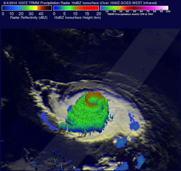 Hurikán Iselle, jak jej 4. srpna viděl satelit TRMM