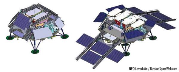 Ruský lander dopraví v roce 2018 (2020) evropský rover na povrch Marsu. V letové konfiguraci (vlevo) a po přistání před sjezdem roveru na povrch (vpravo). Lander pak bude sloužit jako výzkumná základna.