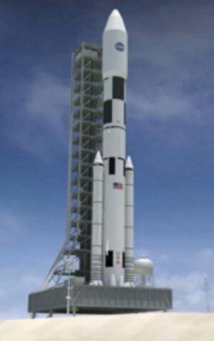 Raketa SLS ve finální konfiguraci.