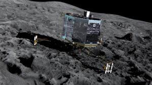 přistávací modul Philae v představách výtvarníka Kredit:  ESA/ATG medialab