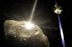 Umělecká představa nárazu sondy DART do asteroidu