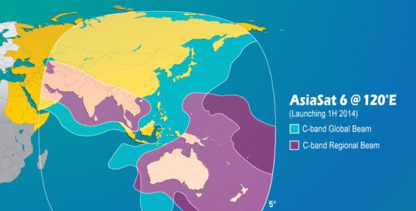Operační oblast družice AsiaSat 6