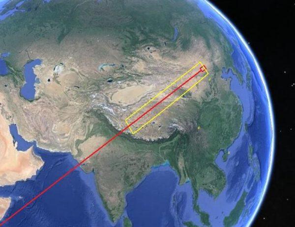 Červeně vyznačená trajektorie návratu, žlutě je vyznačena bezpečnostní bezletová zóna.
