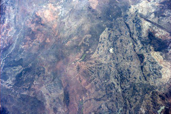 Jizvy krajiny jižní Afriky způsobené odlesňováním.