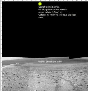 Montáž snímku 16km kráteru Endeavor směrem k jihu s animací přibližné polohy komety. Při prvním snímkování (před přiblížením) bude Siding Spring 60° nad obzorem.