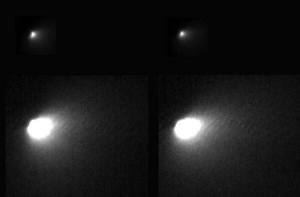 Na horních dvou snímcích HiRISE je vidět jádro i vnitřní oblast komy, spodní (s delší expozicí) ukazují vnější část komy, která přechází v ohon.