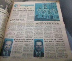 """Posádka Sojuzu-19 byla populární i v USA, jak dokazují dobové floridské noviny """"Today"""""""