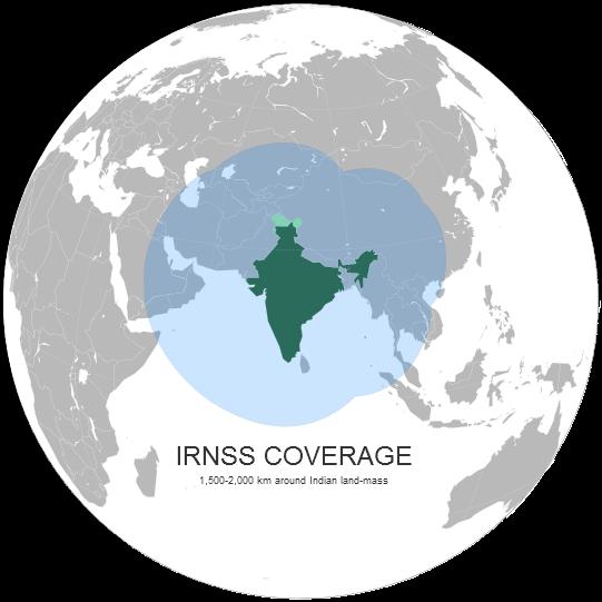 Pokrytí systému IRNSS v operačním nasazení