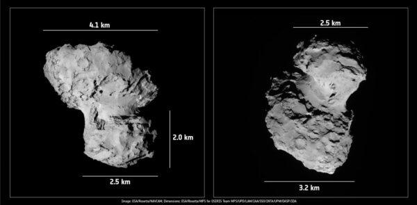 Rozměry komety 67P-Čurjumov/Gerasimenko