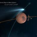 grafické znázornění průletu komety nad jednou hemisférou a úhybnými manevry sond na polokouli protilehlé.