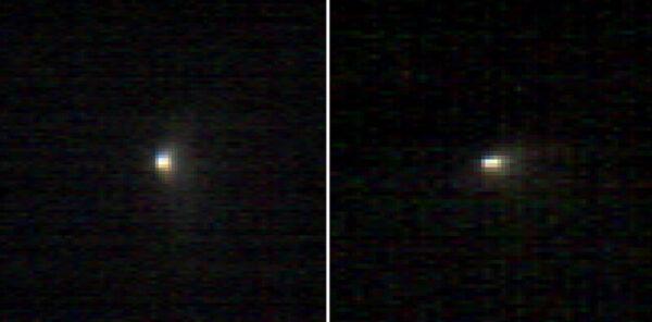 Dva snímky z palubního spektrometru CRISM sondy MRO z 19.10.2014