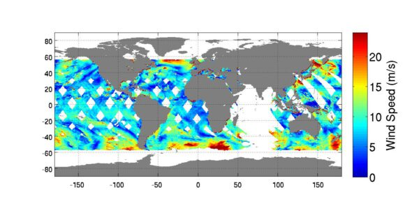 První předběžné výsledky z přístroje ISS-RapidScat, který měří rychlost a směr větrů nad oceány