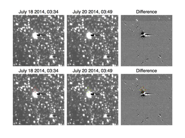 Vlevo jsou snímky pořízené s rozdílem dvou dní. Vpravo je zobrazen rozdíl mezi nimi.
