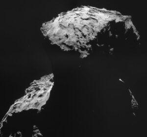 Agilkia z výšky 10 km těsně předtím, než Rosetta upravila svou dráhu a vzdálila se kvůli nadcházejícímu přistání.