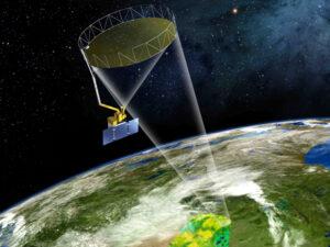 Vizualizace družice SMAP na oběžné dráze