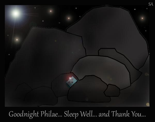 Dobrou noc, Philae ... Spi sladce ... A děkujeme Ti!
