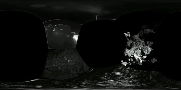 Koláž snímků z přístroje CIVA - tentokrát ale s deformovanými fotkami, aby bylo lépe poznat okolí.