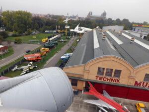 Podhled na historické centrum Speyeru z křídla Boeingu 747