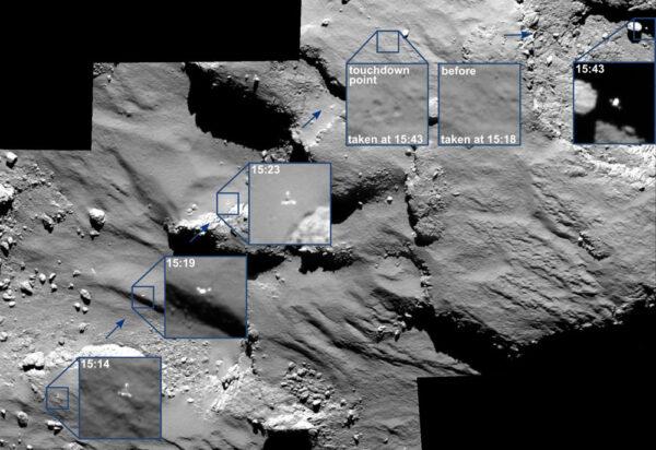 Přistávající Philae zachycené kamerou OSIRIS na sondě Rosetta