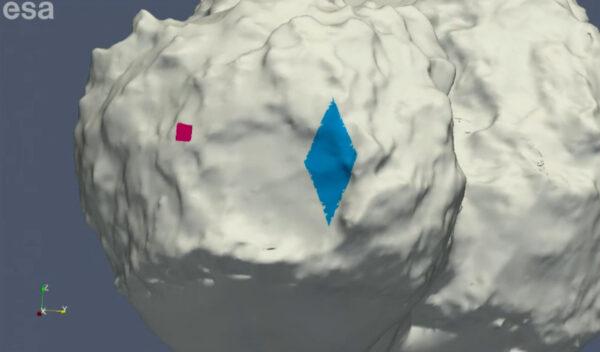 Červeně vyznačena oblast plánovaného přistání, modře pak původně zvažovaná oblast, ve které by se Philae mohlo nacházet nyní.