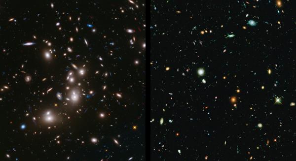 Jeden z prvních (nekompletních) snímků kupy Abell 2744. Vlevo vidíte záběr jedné kamery HST v barvách upravených tak, aby vynikla nově nasnímaná data v infračerveném oboru (vyznačeno červeně). Pozdější datové výstupy jsou zobrazeny v modrozelené.