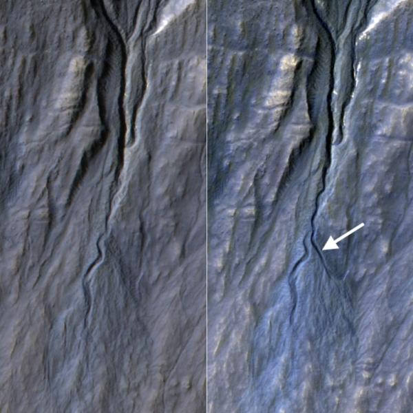 """Vlevo je fotografie """"před"""" a vpravo """"po"""" vytvoření nového ramene koryta."""