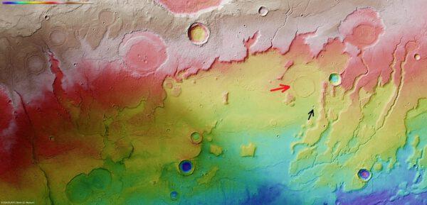 Topografický snímek Kasei Valles a Lunae Planum.