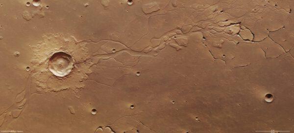 Systém kanálů v oblasti Hephaestus Fossae.