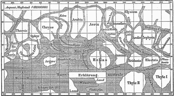 Schiaparelliho kresba povrchu Marsu se systémem kanálů.