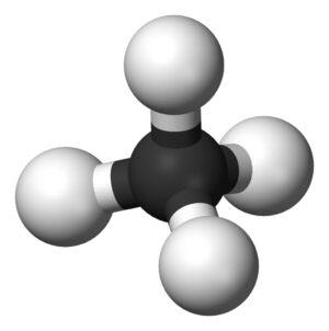 Molekula metanu - čtyři atomy vodíku kolem centrálního uhlíkového atomu.