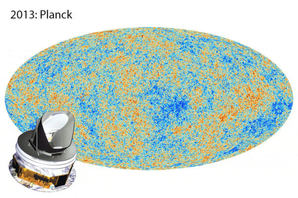 Měření odchylek mikrovlnného záření kosmického pozadí, jak je naměřila evropská sonda Planck  vypuštěná v roce 2009