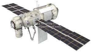 Podoba modulu MLM Nauka na oběžné dráze. Robotický manipulátor vespod je dílem ESA.