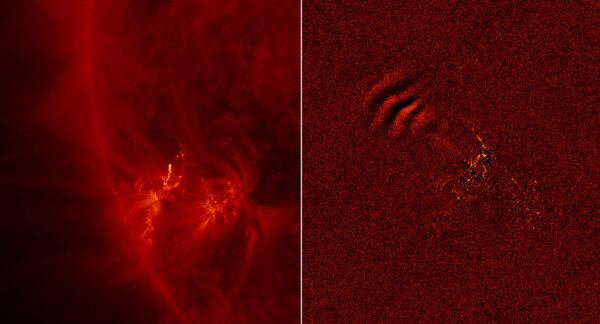 Ubíhající vlny: Citlivost přístroje AIA umožnila objevit nový, rychle se pohybující typ vln, které rozechvívají sluneční korónu. Snímek vlevo vnikl 30. května 2011 a ukazuje nám aktivní oblast, jejíž okraj rozsvítila kde erupce. Obrázek napravo ukazuje rozdíl mezi tímto a předešlým snímkem, takže můžeme vidět, co se mezi nimi změnilo. Vlna zastoupená světlými a tmavými linkami ubíhá k levému hornímu okraji. Tyto vlny jsme mohli zachytit pouze díky rychlé frekvenci, s jakou AIA pracuje. Ukazuje se, že vlny dosahují rychlosti 2 000 km/s.