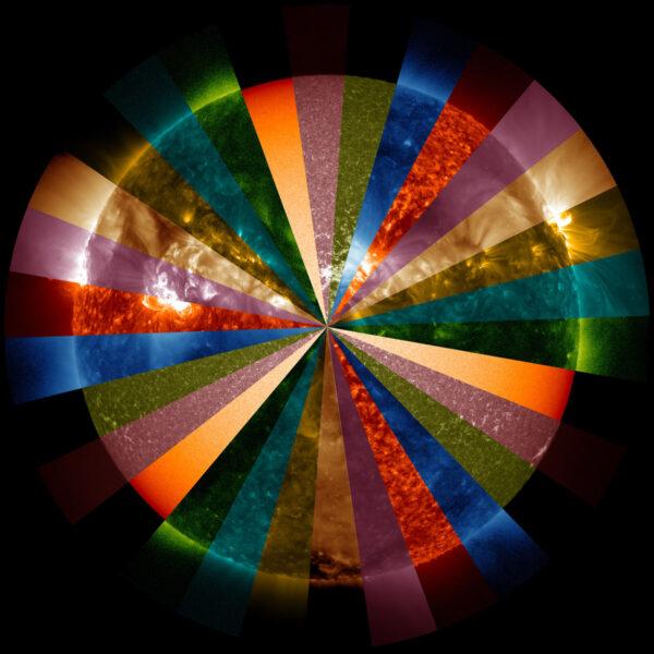 Síla přístroje AIA spočívá ve schopnosti konstantně snímat celou sluneční atmosféru v mnoha vlnových délkách. Tento kompozitní snímek odhaluje část z tohoto potenciálu. Každá barva symbolizuje jinou vlnovou délku extrémně ultrafialového světla, které jsou zastoupené v koróně. Vlnové délky odpovídají různým teplotám, takže někdy při pohledu na stejné Slunce dostáváme úplně jiné fotky. Vědci mohou z kombinací různých vlnových délek vyčíst mnoho informací o atmosféře Slunce ve všech jejích detailech.