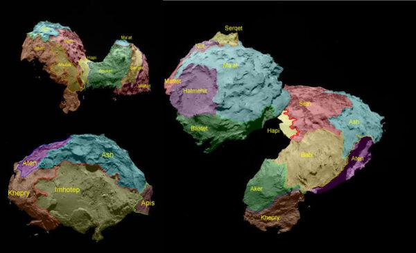 Oblasti na povrchu jádra komety