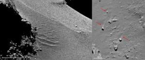Duny a prachové ohony za kameny