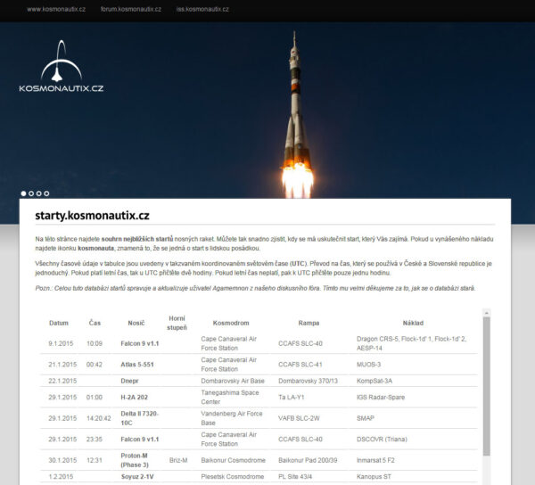 Podoba naší subdomény starty.kosmonautix.cz
